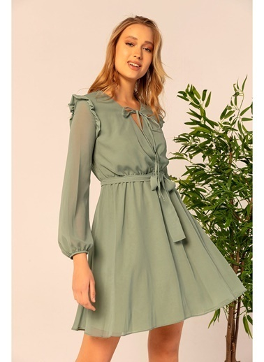 Tiffany&Tomato Omuzları Fırfırlı Şifon Elbise Yeşil
